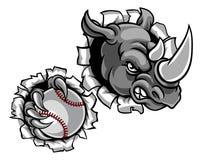 Rhinocéros tenant la boule de base-ball cassant le fond illustration de vecteur