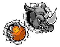 Rhinocéros tenant la boule de basket-ball cassant le fond illustration stock