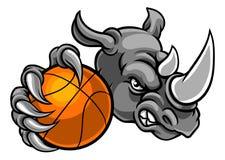 Rhinocéros tenant la mascotte de boule de basket-ball Images stock