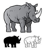 Rhinoceros. This is a cartoon illustration of a rhino. Silhouette and line art (no color) versions are included. Enjoy royalty free illustration