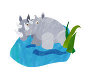 Rhinoceros. An illustration of a pair of rhinoceros in a small pool of water Stock Photos