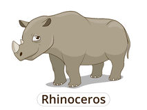 Rhinoceros african savannah cartoon illustration Stock Photography