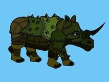 Rhinoceros in the armor. Heavy combat armored rhinoceros  of green color Stock Photo