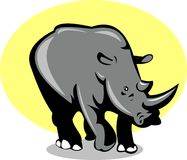 Rhinoceros attacking Stock Images