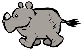Rhinoceros. A baby rhinoceros / rhino cartoon clip art image Royalty Free Stock Images