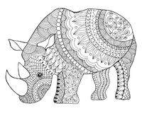 Rhinoceros. Black white hand drawn doodle animal. Ethnic patterned vector illustration. Sketch for coloring page, tattoo, poster, print, t-shirt Vector Illustration