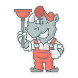 Rhinoceros character holding plunger Stock Photography