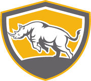Rhinoceros Charging Side Shield Retro Royalty Free Stock Photo