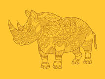 Rhinoceros color drawing raster Royalty Free Stock Photos