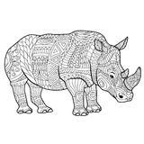 Rhinoceros coloring book for adults vector illustration. Royalty Free Stock Photography
