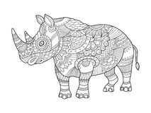 Rhinoceros coloring book for adults vector Royalty Free Stock Photography