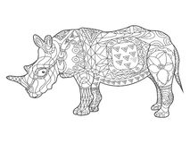 Rhinoceros coloring book for adults vector Stock Images