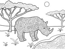 Rhinoceros coloring book for adults vector Stock Photos
