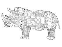 Rhinoceros coloring book vector for adults stock illustration