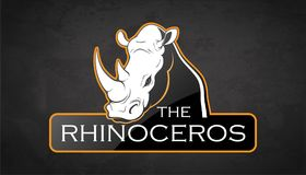 Eblema of an rhinoceros. Rhinoceros on a dark background. Vector rhinoceros with room for text Royalty Free Stock Images