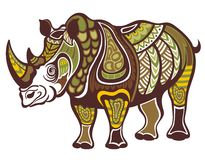 Rhinoceros in decorative style Stock Images