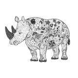 Rhinoceros  doodle Stock Images