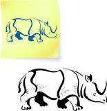Rhinoceros drawing on post it note.  Stock Photography