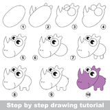 Rhinoceros. Drawing tutorial. Royalty Free Stock Images