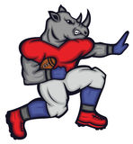 Rhinoceros Gridiron Quarterback Football Player. Mascot Cartoon Character Royalty Free Stock Image