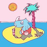 Rhinoceros has a rest on the island. Illustration of small island with a rhinoceros and a palm tree Royalty Free Stock Image