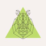 Rhinoceros head geometric lines silhouette royalty free illustration
