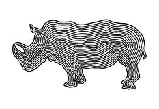 A rhinoceros illustration icon in black offset line. Fingerprint. Style for logo or background design Stock Photos
