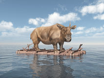 Rhinoceros on a raft. Computer generated 3D illustration with a Rhinoceros on a raft Stock Images