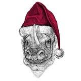 Rhinoceros, rhino Christmas illustration Wild animal wearing christmas santa claus hat Red winter hat Holiday picture. Christmas illustration Wild animal wearing stock illustration