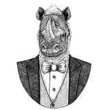 Rhinoceros, rhino Hipster animal Hand drawn illustration for tattoo, emblem, badge, logo, patch, t-shirt. Rhinoceros, rhino Hand drawn illustration for tattoo stock photo