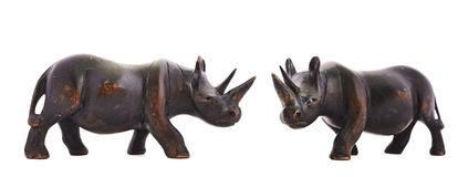 Rhinoceros rhino sculpture isolated Royalty Free Stock Photos