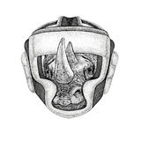 Rhinoceros, rhino Wild boxer Boxing animal Sport fitness illutration Wild animal wearing boxer helmet Boxing protection. Wild boxer Boxing animal Sport fitness Stock Photo