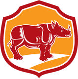 Rhinoceros Standing Shield Retro Stock Photography