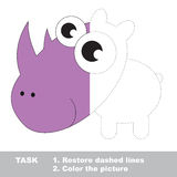 Rhinoceros to be colored. Vector trace game. Stock Photos