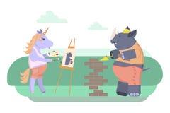 Rhinoceros and unicorn Stock Photo