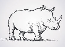 Rhinoceros. Vector drawing Stock Images