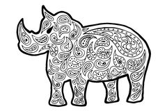 Rhinoceros vector, rhinoceros zen tangle and zen doodle. rhinoceros coloring. rhinoceros tattoo. Black and white Stock Image