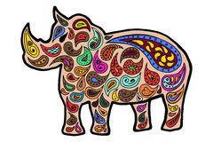 Rhinoceros zentangle and zendoodle vector. Rhino zen tangle and zen doodle. Animal coloring book. Tatoo wildlife. Zenart Africa. Stock Photography