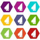 Rhinoplasty of nose icon set color hexahedron. Rhinoplasty of nose icon set many color hexahedron isolated on white vector illustration Stock Photography