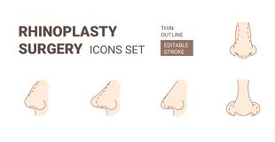 Rhinoplasy plastic surgery icons set with editable stroke stock illustration