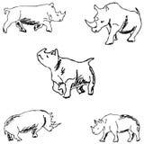 rhinos nakreślenie ręką tła rysunku ołówka drzewny biel Fotografia Stock