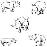 rhinos nakreślenie ręką tła rysunku ołówka drzewny biel Obraz Stock