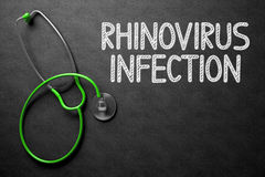 Rhinovirus Infection on Chalkboard. 3D Illustration. Medical Concept: Black Chalkboard with Rhinovirus Infection. Medical Concept: Black Chalkboard with royalty free stock photography