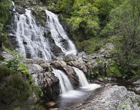 Rhiwargor Waterfall landscape in Snowdonia National Park during Royalty Free Stock Photo