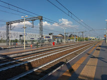 Rho Fiera train station. RHO, ITALY - CIRCA JULY 2017: Rho Fiera railway station Stock Images