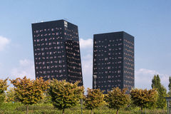Rho Milan, Italy: two modern towers. RHO, ITALY - OCTOBER 2, 2016: Rho Milan, Lombardy, Italy: two modern towers hosting a hotel Royalty Free Stock Image