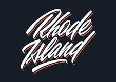 Rhode Island brush lettering Royalty Free Stock Photo