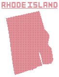Rhode Island Dot Map Fotografie Stock Libere da Diritti