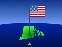 Rhode Island with Flag Stock Photos