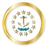 Rhode Island Flag Button. Rhode Island state flag button with a gold metal circular border over a white background Royalty Free Stock Photography